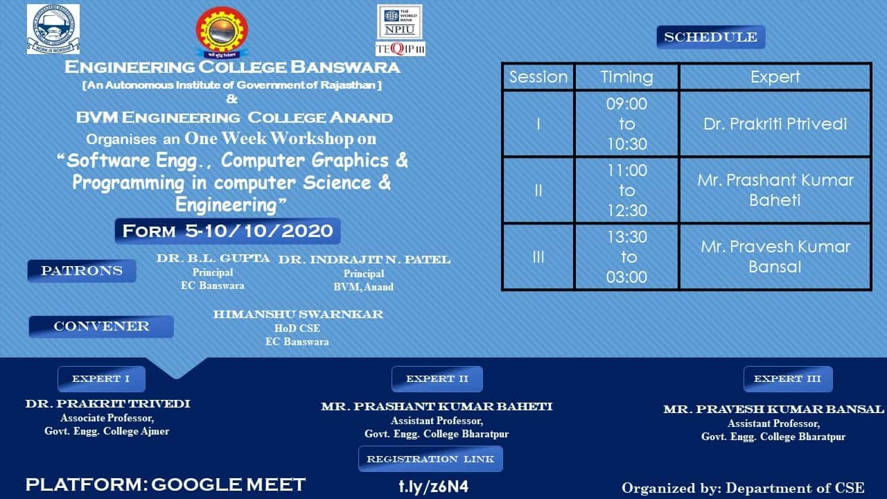Software Engg., Computer Graphics &  Programming in computer Science &  Engineering